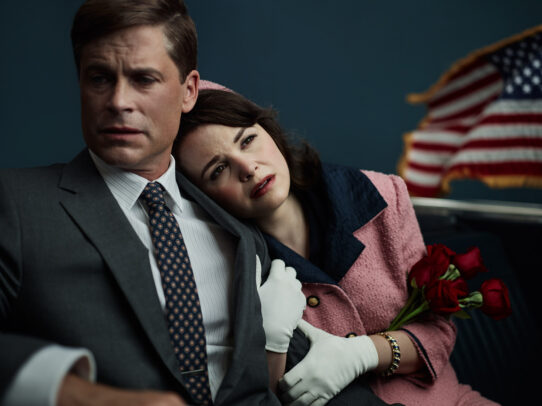 Rob Lowe as John F. Kennedy and Ginnifer Goodwin as Jackie Kennedy close up