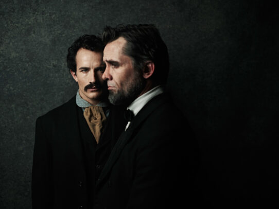 Jesse Johnson as John Wilkes Booth and Billy Campbell as Abraham Lincoln close up