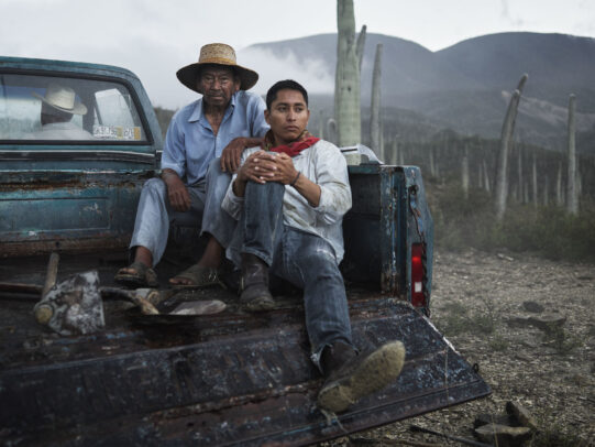 two men sitting on the rear of a pick up in a plantation for Lavazza Calendar 2016 by Joey L