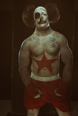 boxer clown with black eye