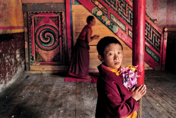 Young Monk with Flowers