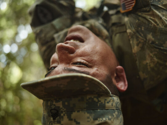american close up of a soldier training