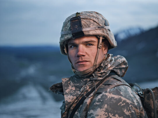 close up of an american soldier
