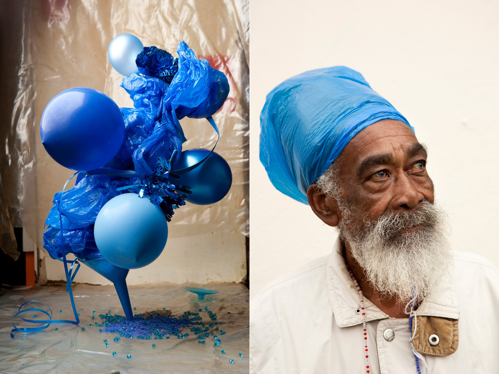 blue sculpture and blue eyed old man photographed by lorenzo vitturi