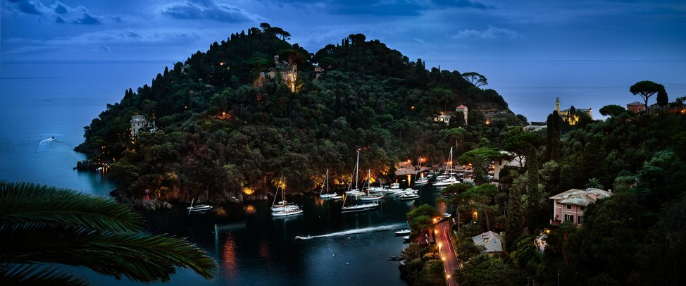 Portofino's dock with yatch at dusk