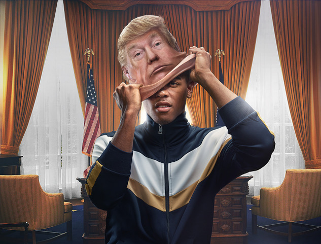 black man with Trump's mask