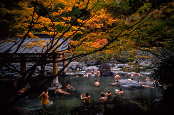 people bathing at Takaragawa Onsen