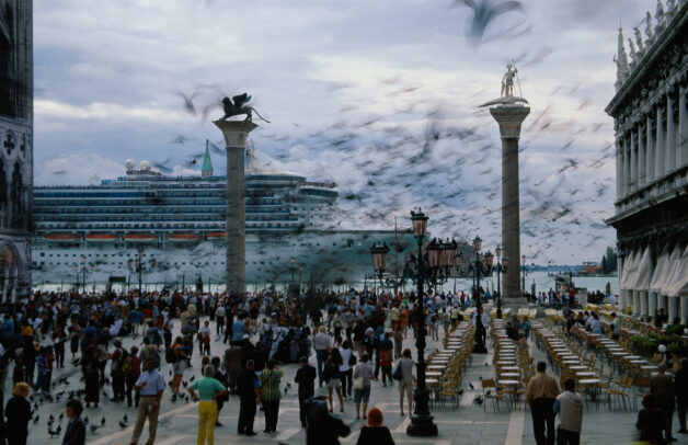 Piazza San Marco in Venice with the shadow of the grand princess appearing
