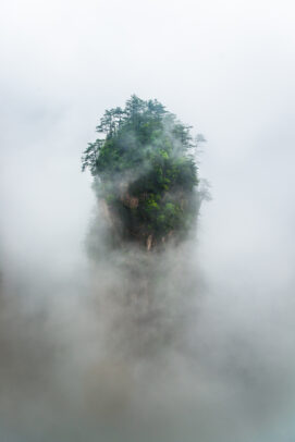 Tianzi Mountain area in rain and dense fog