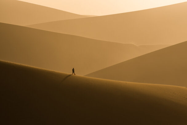 man walking on golden dunes of the desert
