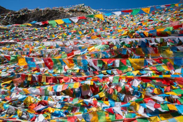 prayers colored flags for the new moon festival at Ganden Dhundupling Monastery