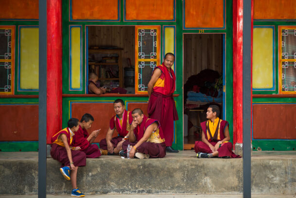 tibetan modern monks at the monastery