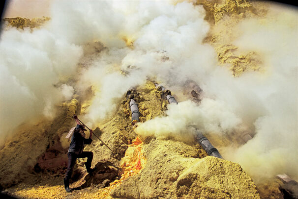 steam of sulfur from a volcano