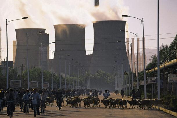 smokestacks power station in inner Mongolia