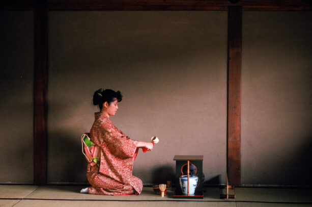 A young woman practices the tea ceremony at Yabunouchi Tea School in Kyoto