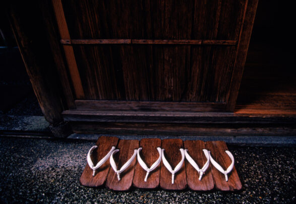 Wooden geta, or slippers, lined up outside the Tawaraya Inn in Kyoto
