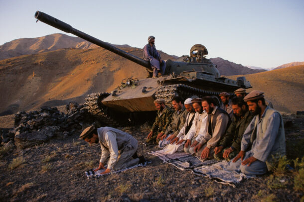 Massoud, the Lion of Panjshir, leads his officers in evening prayer.