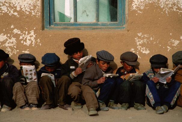 Tajik children wait for their lessons to start.