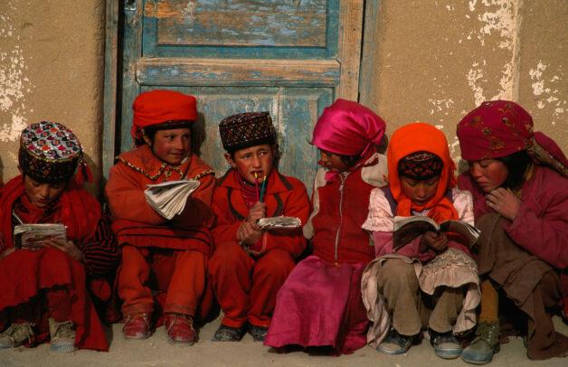 Tajik Children out of an elementary school