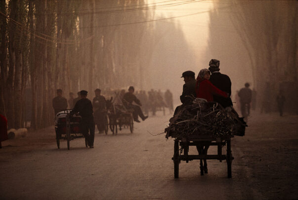 a cart with horse in a street in China
