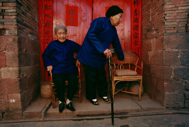 two old chinese women with binded feet