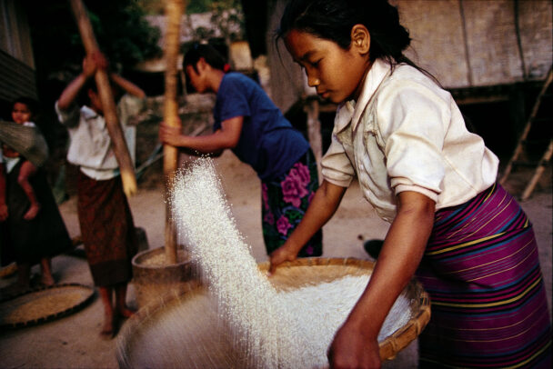 a girl who is sifting rice