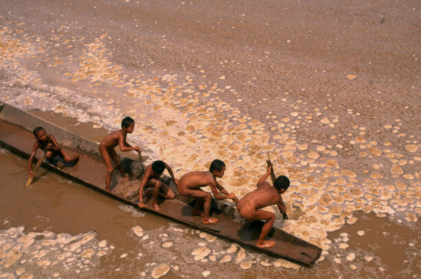boys on a paddle playing polluted waters