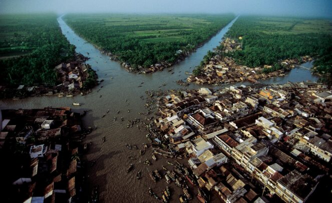 aerial view of the canals of the Mekong Delta at the floating market
