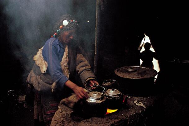 tibetan woman making tea