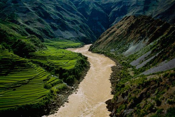 green rice terraces near Mekong river