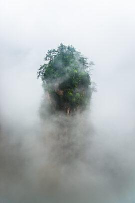 Tianzi Mountain area in rain and dense fog