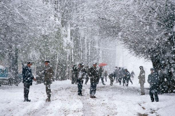 A snow storm in a street, near Kashgar