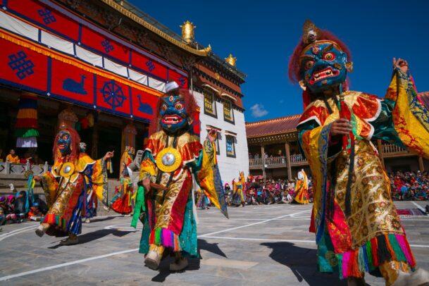 people celebrating for the moon festival at Ganden Dhundupling Monastery