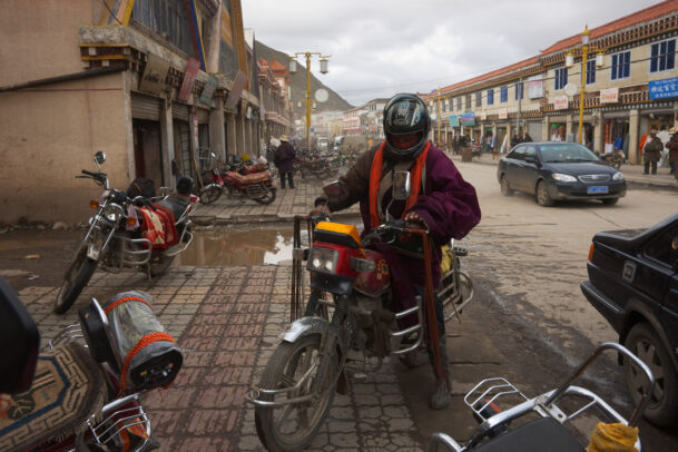 motorcycle in a tibetan street