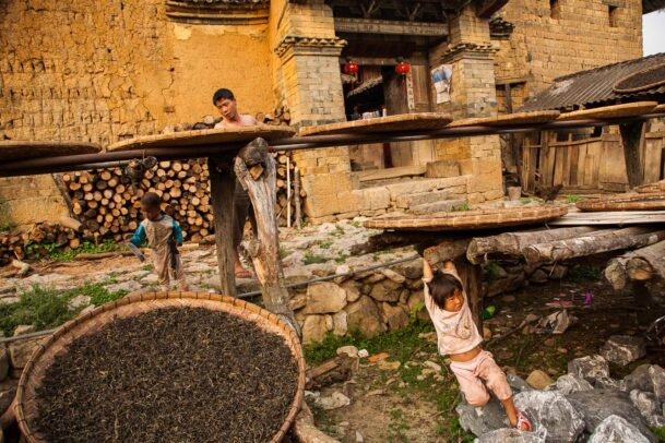 tea leaves in baskets drying outside of an old factory while a children plays