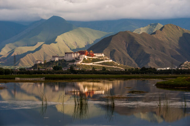 Lhasa's Potala Palace hovering above the marsh in the foreground.