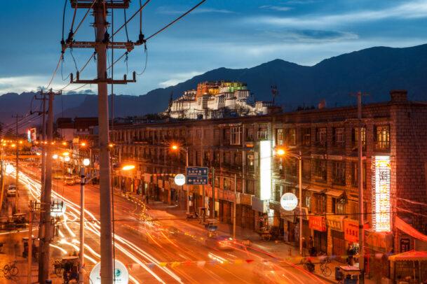 The city of Lhasa at dusk