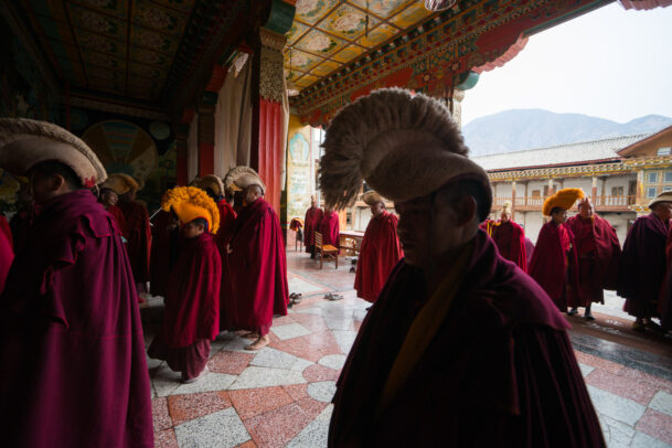 Buddhist monks of the yellow hat sect