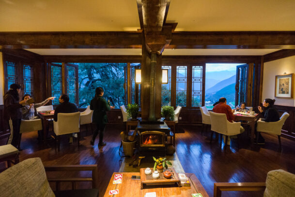 Guests at the Songtsam Tacheng lodge dining