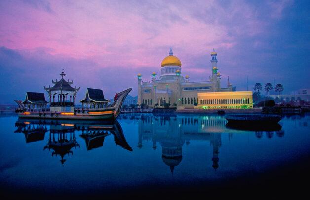 Dawn over the Grand Mosque. Brunei.
