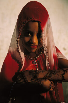 Young muslim girl in the traditional buibui